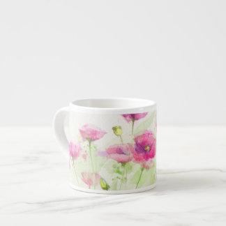 Painted watercolor poppies 3 espresso mug