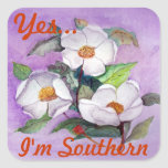 Painterly White Southern Magnolias on Lavender Square Sticker