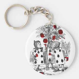 Painting the Roses Red Basic Round Button Key Ring