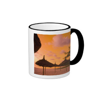 Palapa style beach huts at sunrise, Belle Mare 2 Ringer Mug