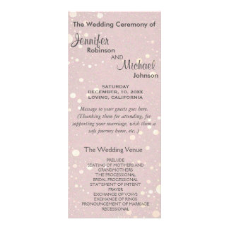 Pale Pink with Circle Glitter Wedding Program Personalised Rack Card