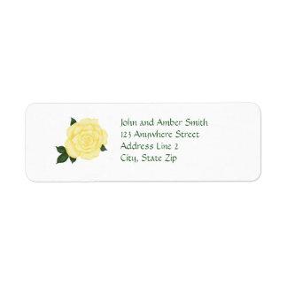 Pale Yellow Rose Return Address Labels