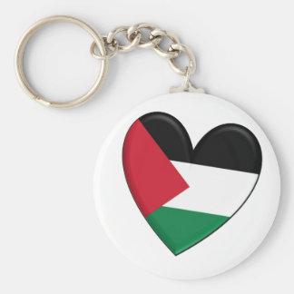 Palestine Heart Flag Basic Round Button Key Ring
