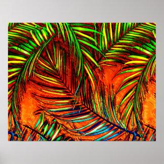 Palm Leaf Art Jungle Fire Edit Poster