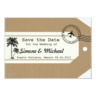 Palm Tree travel theme Luggage Tag Save the Date 9 Cm X 13 Cm Invitation Card