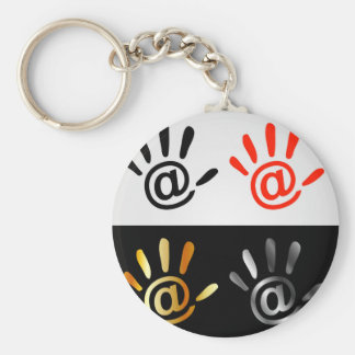 Palm with at sign basic round button key ring