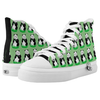 Panda Pattern Green and Black Shoes Printed Shoes
