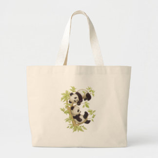 Pandas Playing in a Tree Jumbo Tote Bag