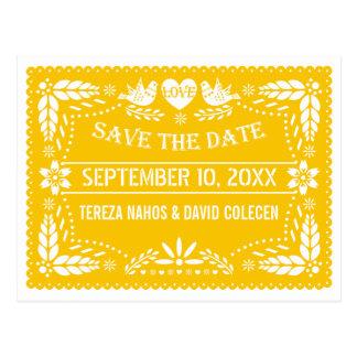 Papel picado modern yellow wedding Save the Date Postcard