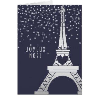 Paris Christmas Eiffel Tower with Snow at Night Greeting Card
