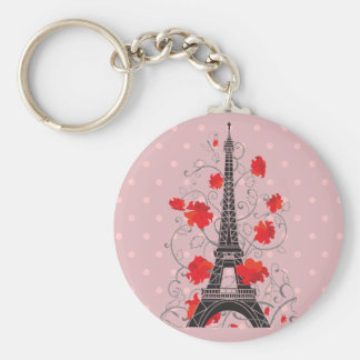 Paris Eiffel tower elegant stylish silhouette. Basic Round Button Key Ring
