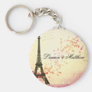 Paris in Love - Eiffel Tower Basic Round Button Key Ring