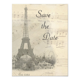 Paris Vintage Music Wedding Save the Date Card 11 Cm X 14 Cm Invitation Card