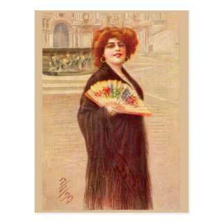 Parisian lady of the Belle Epoch Postcard