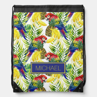 Parrots And Tropical Fruit | Add Your Name Drawstring Bags