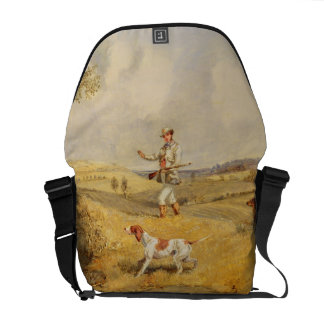 Partridge Shooting (oil on panel) Courier Bag