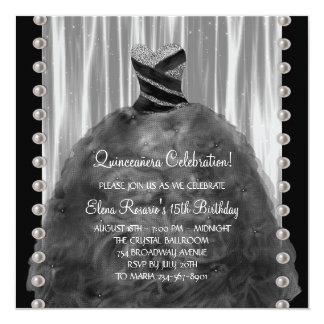 Party Dress Pearls Black Quinceanera Invitations