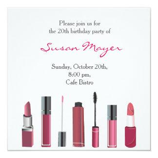 Party Invite Card Lipstick Make up Mascara Red Fun