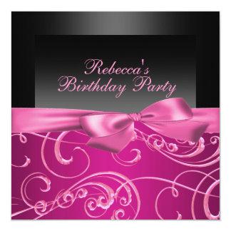 Party Pink Swirls Birthday Invitation