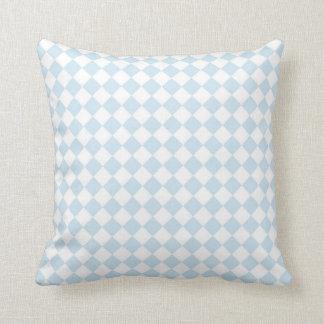 Pastel Blue and White Diamond Checkered Pattern Cushion