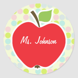 Pastel Colors, Polka Dot; Apple Round Sticker