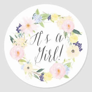 Pastel Floral Wreath It's a Girl Baby Shower Stamp Round Sticker
