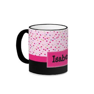 Pastel Hearts on Pink Personalized Ringer Mug