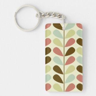 Pastel Leaves Pattern Double-Sided Rectangular Acrylic Key Ring