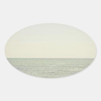 Pastel Ocean Photography Minimalism Oval Sticker