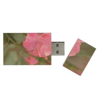 Pastel Pink Rose in Iraq Wood USB 2.0 Flash Drive