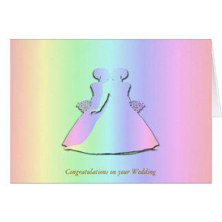 Pastel Rainbow Lesbian Wedding Card