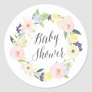 Pastel Spring Floral Wreath Baby Shower Stamp Round Sticker