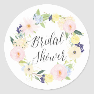 Pastel Spring Floral Wreath Bridal Shower Stamp Round Sticker