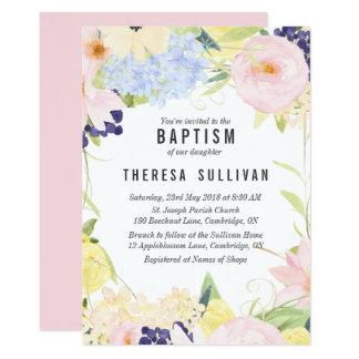 Pastel Spring Flowers Baptism Invitation