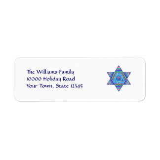 Pastel Star of David Return Address Labels