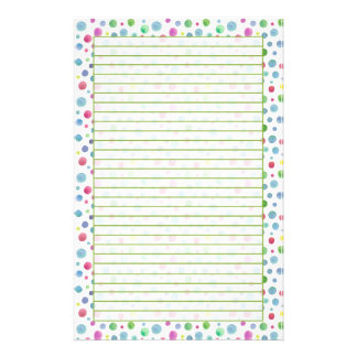 Pastel Watercolor Polka Dots Blue Green Lined Custom Stationery