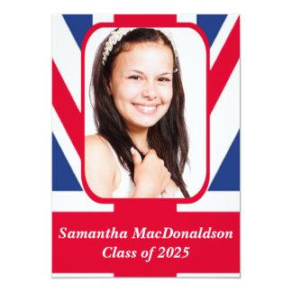 Patriotic British flag photo graduation 13 Cm X 18 Cm Invitation Card