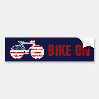 patriotic flag United States of America bicycle Bumper Sticker