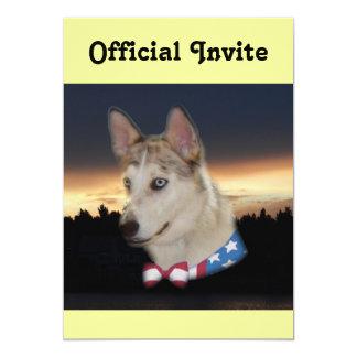Patriotic Husky Dog Sunset 13 Cm X 18 Cm Invitation Card