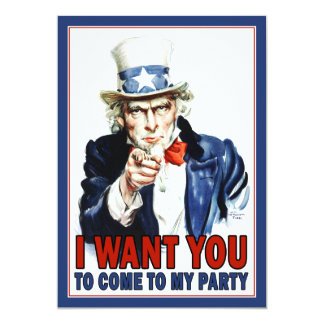 Patriotic Party Invitation: Vintage Uncle Sam 13 Cm X 18 Cm Invitation Card