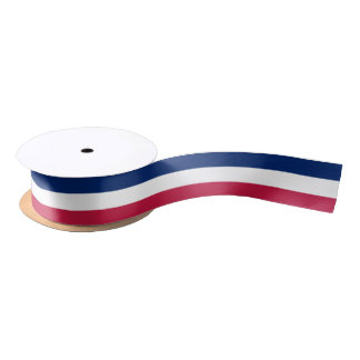 Patriotic Red White Blue Stripes Gift Wrap Ribbon Satin Ribbon