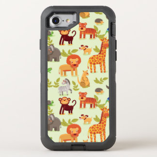 Pattern With Cartoon Animals OtterBox Defender iPhone 7 Case