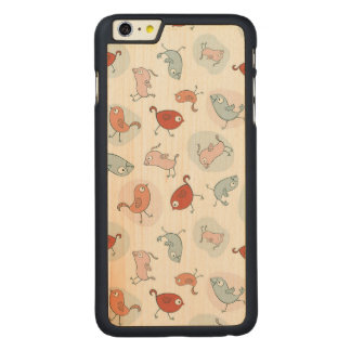 pattern with cartoon birds carved® maple iPhone 6 plus case