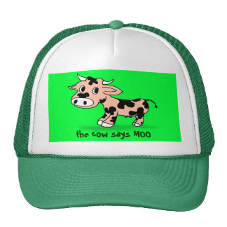 Patterned Cartoon Moo Cow Cap