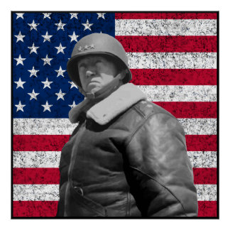 Patton and The American Flag -- Border Poster