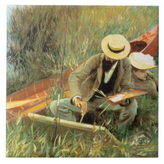 Paul Helleu Sketching with His Wife Large Square Tile