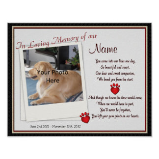 Paw Prints on My Heart Pet Memorial - Dog Cat Poster