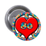 Peace, Heart, 80 6 Cm Round Badge