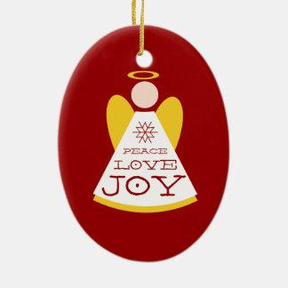 Peace Love Joy Angel Red Christmas Ceramic Oval Decoration
