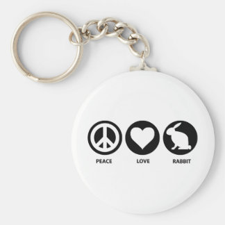 Peace Love Rabbit Basic Round Button Key Ring